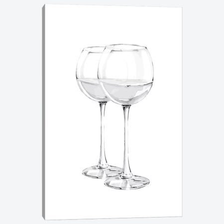Grey Wine Glasses 3-Piece Canvas #PXY216} by Pixy Paper Canvas Artwork