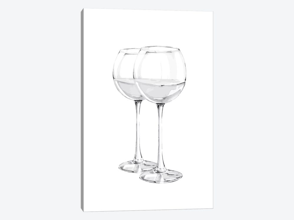 Grey Wine Glasses by Pixy Paper 1-piece Canvas Art