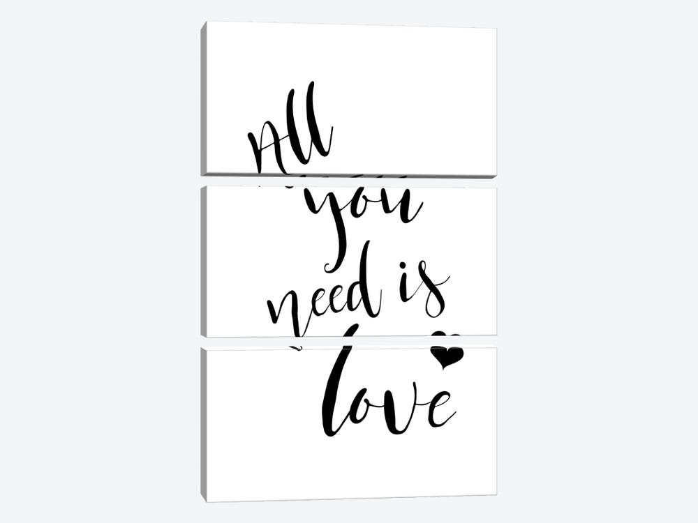 All You Need Is Love by Pixy Paper 3-piece Canvas Print