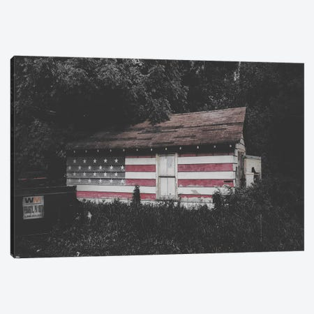 Home USA Flag Canvas Print #PXY231} by Pixy Paper Canvas Art Print