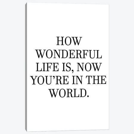 How Wonderful Life Is Now You're In The World Canvas Print #PXY235} by Pixy Paper Canvas Artwork