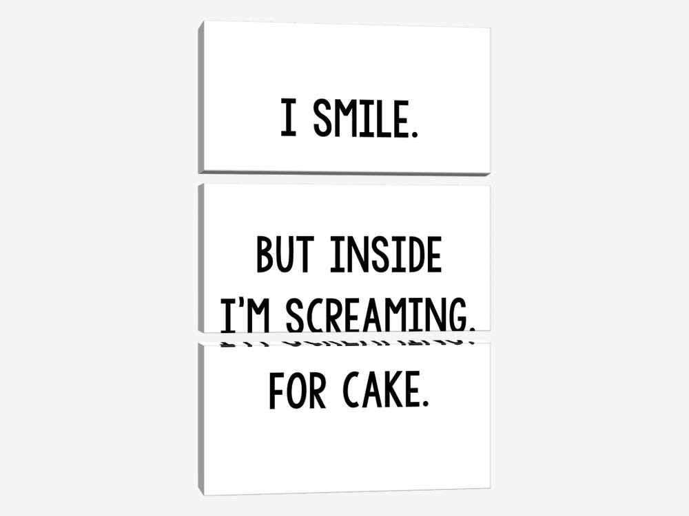 I Smile But Inside I'm Screaming For Cake by Pixy Paper 3-piece Canvas Print