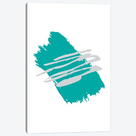 Jaggered Paint Brush Teal Canvas Print #PXY265} by Pixy Paper Canvas Print