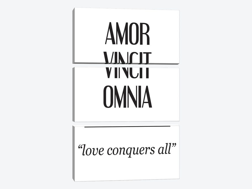 Latin Meanings-Amor Vincit by Pixy Paper 3-piece Art Print