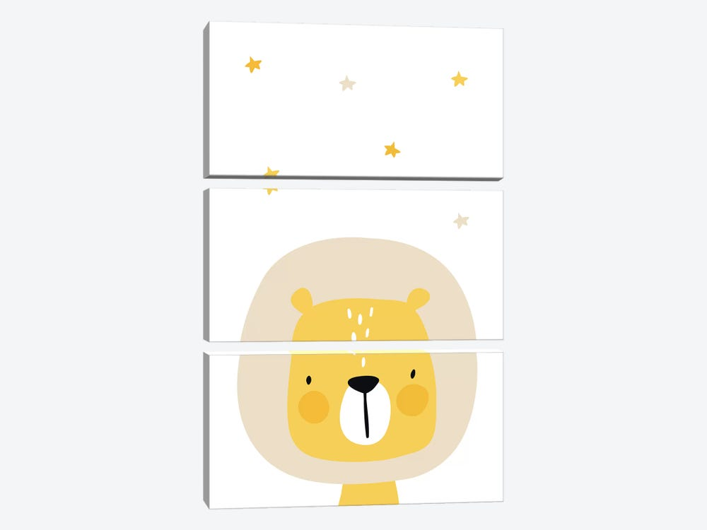 Lion With Stars by Pixy Paper 3-piece Canvas Artwork