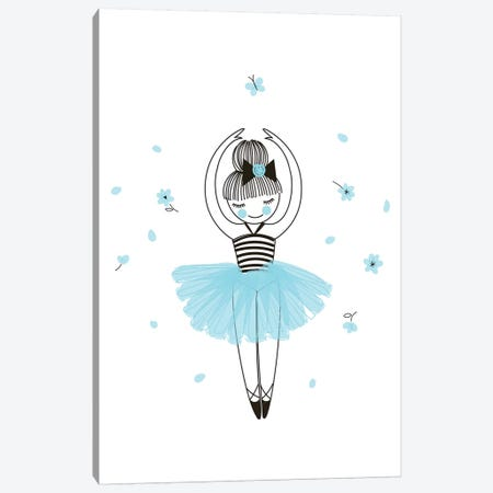 Little Ballerina Blue Canvas Print #PXY297} by Pixy Paper Canvas Art
