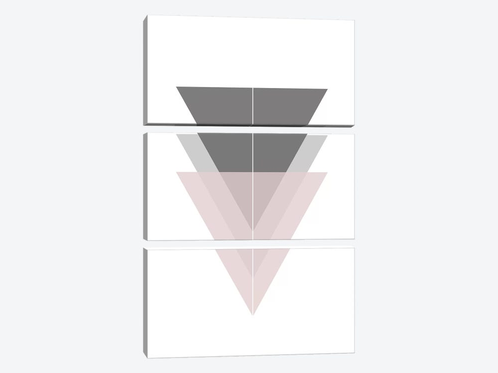 3 Simple Black Grey And Pick Triangles by Pixy Paper 3-piece Canvas Artwork