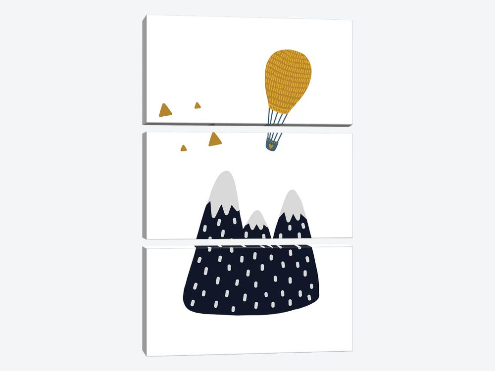 Little Explorer Mountains Balloon by Pixy Paper 3-piece Canvas Wall Art