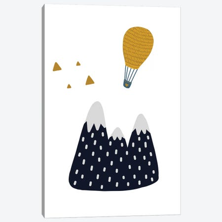 Little Explorer Mountains Balloon Canvas Print #PXY304} by Pixy Paper Canvas Wall Art