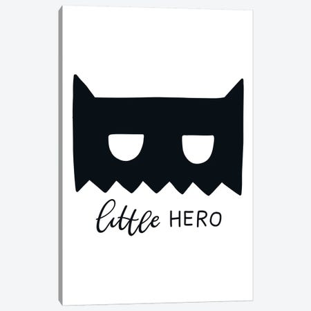 Little Hero Mask Black Super Scandi Canvas Print #PXY305} by Pixy Paper Canvas Artwork