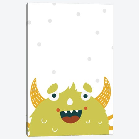 Little Monsters Green Canvas Print #PXY312} by Pixy Paper Canvas Artwork
