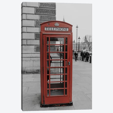 London Red Phone Box Canvas Print #PXY319} by Pixy Paper Canvas Art