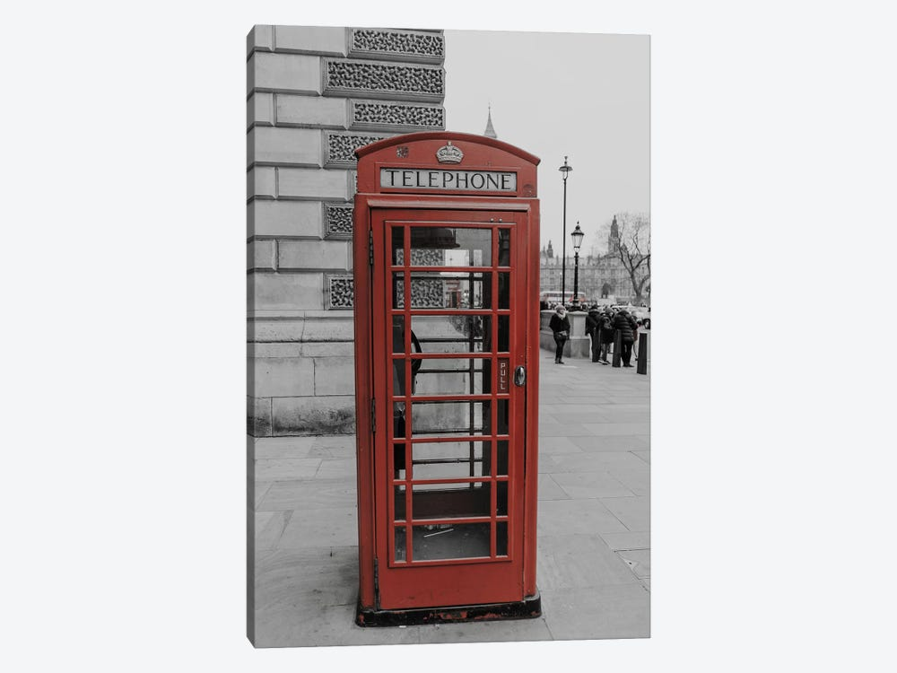 London Red Phone Box by Pixy Paper 1-piece Canvas Wall Art