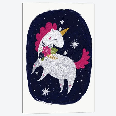 Magic Night Unicorn Canvas Print #PXY326} by Pixy Paper Canvas Wall Art