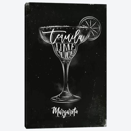 Margarita Cocktail Black Background Canvas Print #PXY329} by Pixy Paper Art Print