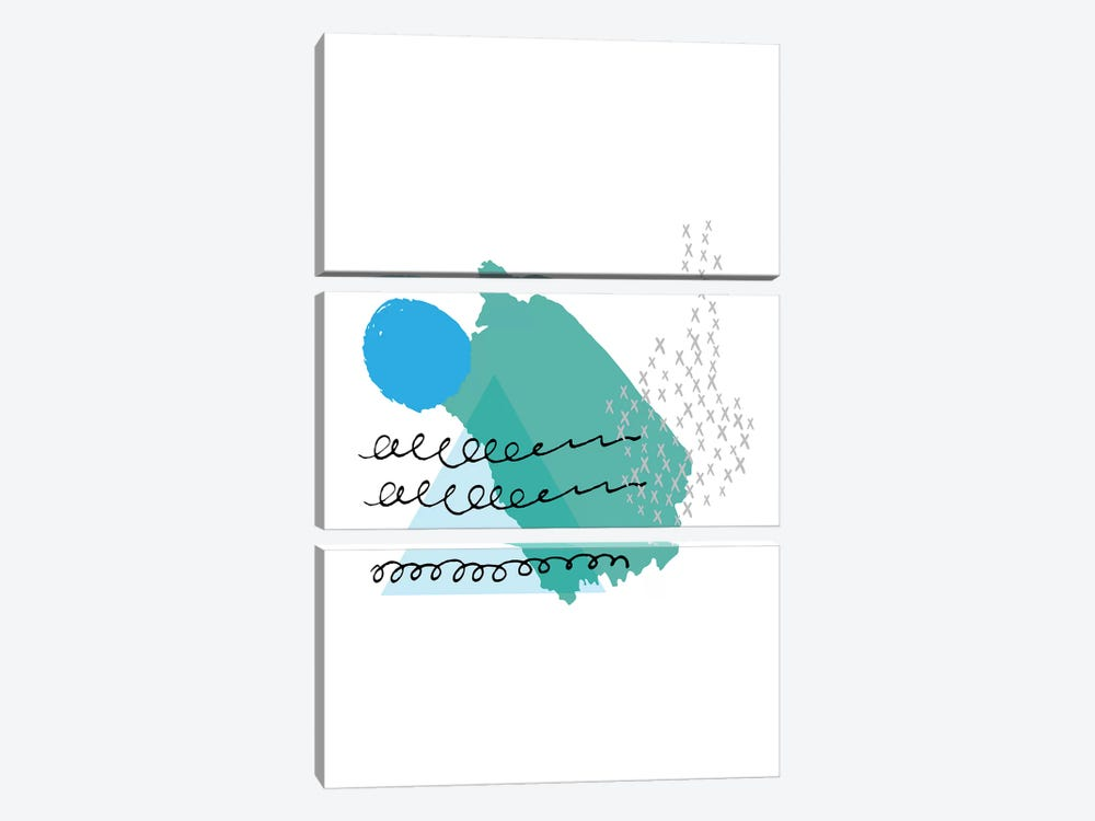 Mountain Sun Teal And Blue by Pixy Paper 3-piece Art Print
