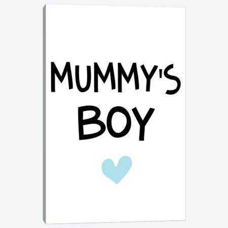 Mummys Boy Blue And Black Canvas Print #PXY351} by Pixy Paper Canvas Wall Art
