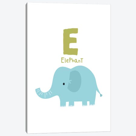 Animal Alphabet - E Canvas Print #PXY35} by Pixy Paper Canvas Art