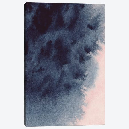 Navy & Blush Watercolour Canvas Print #PXY364} by Pixy Paper Canvas Artwork