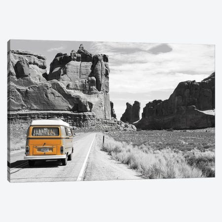 Orange Camper Van Canvas Print #PXY380} by Pixy Paper Canvas Art Print