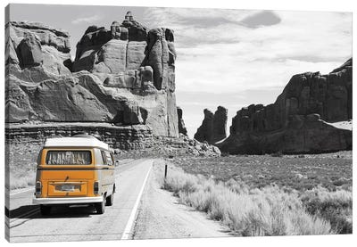 Orange Camper Van Canvas Art Print