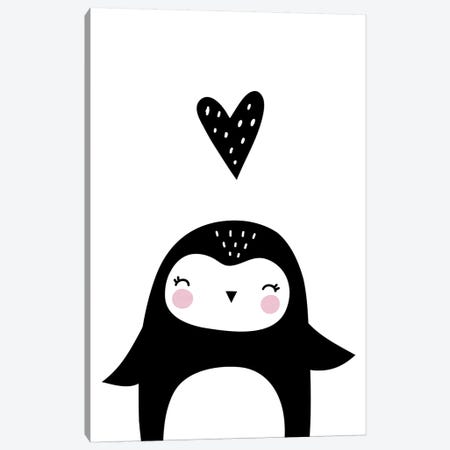Penguin With Heart Canvas Print #PXY387} by Pixy Paper Canvas Wall Art
