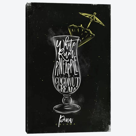 Pina Colado Cocktail Black Background 3-Piece Canvas #PXY391} by Pixy Paper Canvas Wall Art