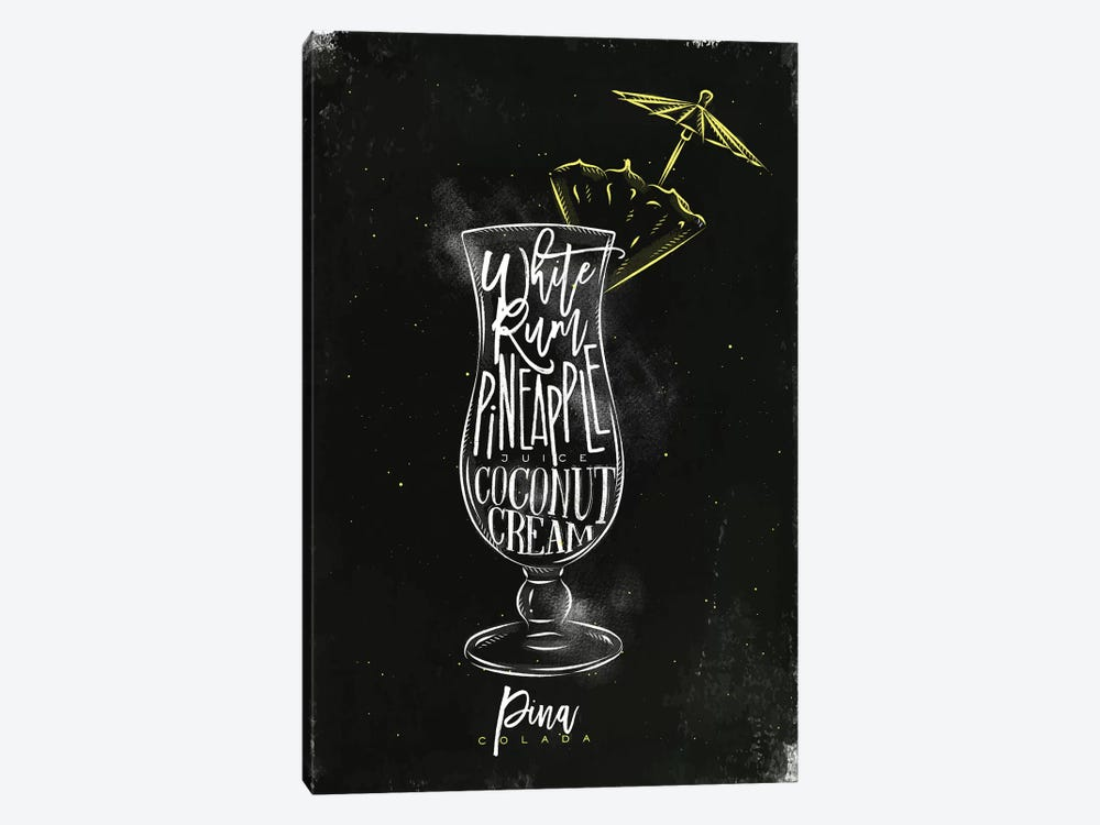 Pina Colado Cocktail Black Background by Pixy Paper 1-piece Canvas Wall Art