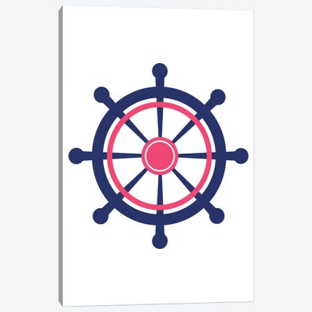 Pink Boat Wheel Nordic Design Canvas Print #PXY396} by Pixy Paper Art Print