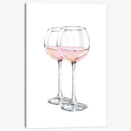 Pink Wine Glasses Canvas Print #PXY402} by Pixy Paper Canvas Art