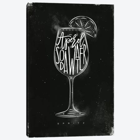 Prosecco Spritz Cocktail Black Background 3-Piece Canvas #PXY407} by Pixy Paper Canvas Print