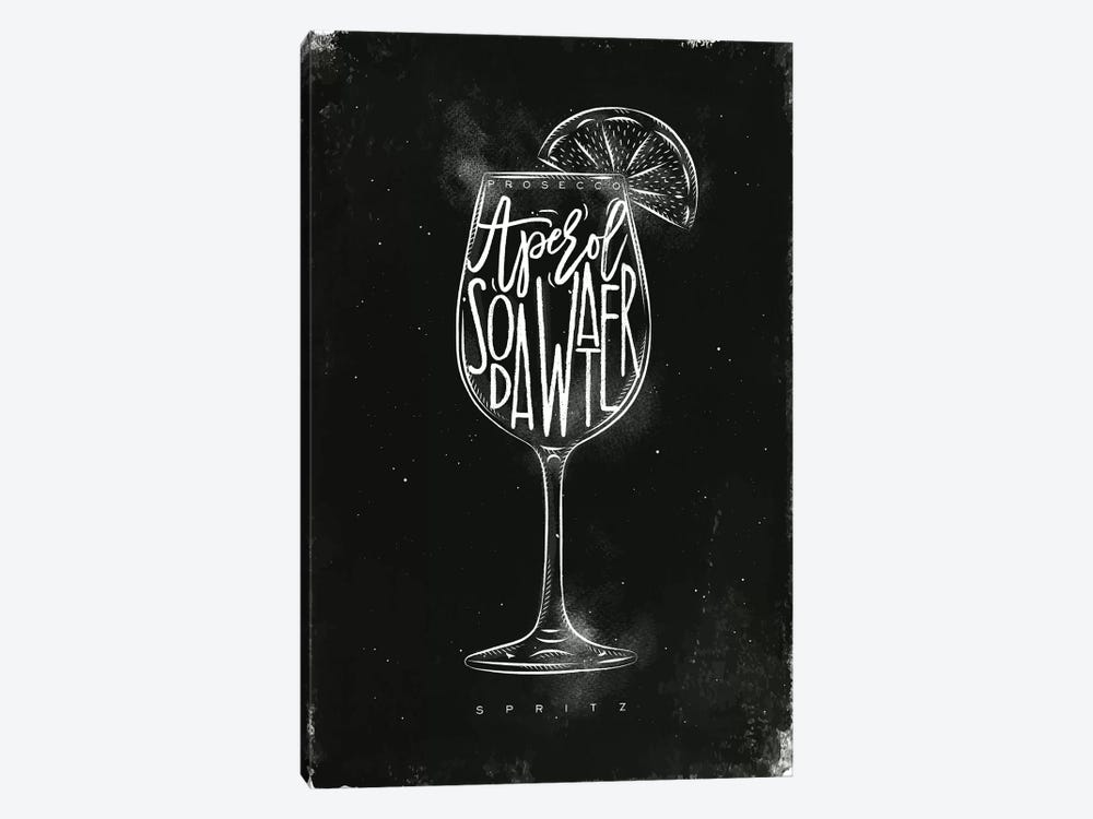 Prosecco Spritz Cocktail Black Background by Pixy Paper 1-piece Canvas Wall Art