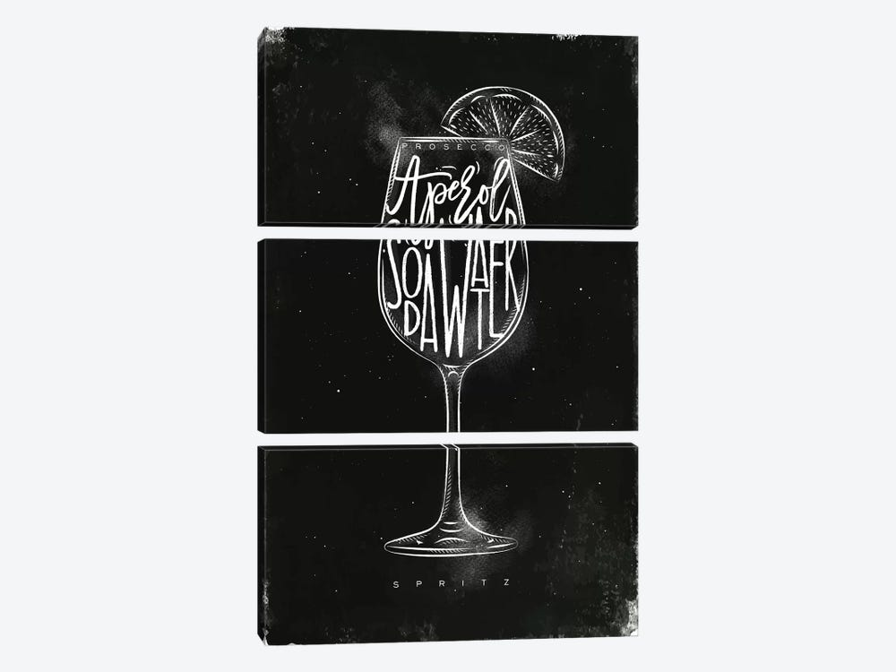 Prosecco Spritz Cocktail Black Background by Pixy Paper 3-piece Canvas Art