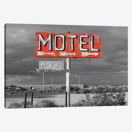 Red Motel Sign Canvas Print #PXY416} by Pixy Paper Canvas Wall Art