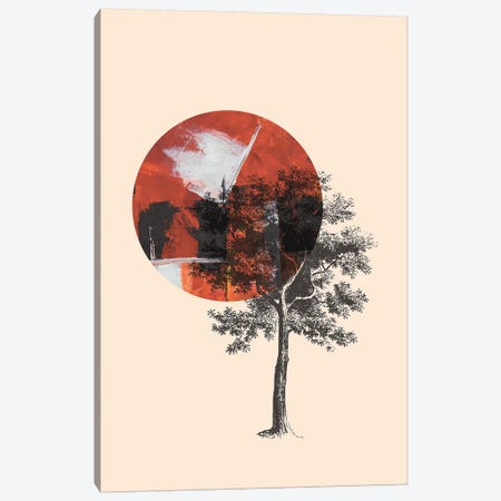 Red Sun With Tree On Beige Background Canvas Print #PXY418} by Pixy Paper Canvas Art Print
