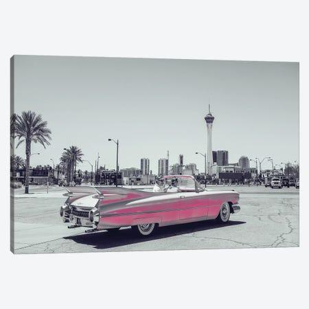 Retro Pink Car B&W Canvas Print #PXY421} by Pixy Paper Canvas Wall Art