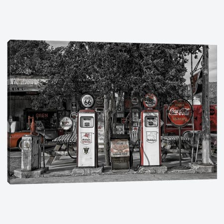 Retro Red Gas Pump Canvas Print #PXY422} by Pixy Paper Canvas Artwork