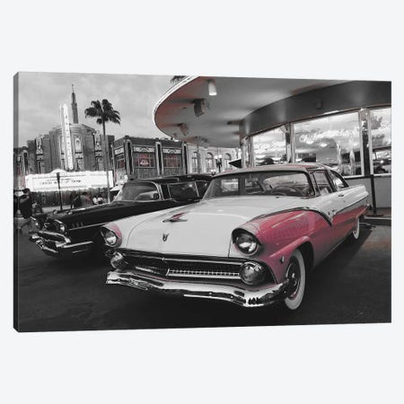 Retro White And Pink Car Canvas Print #PXY423} by Pixy Paper Canvas Artwork