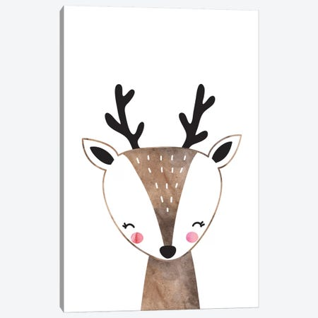 Scandi Brown Deer Watercolour Canvas Print #PXY435} by Pixy Paper Canvas Wall Art