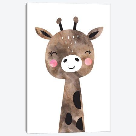 Scandi Brown Giraffe Watercolour Canvas Print #PXY437} by Pixy Paper Canvas Wall Art