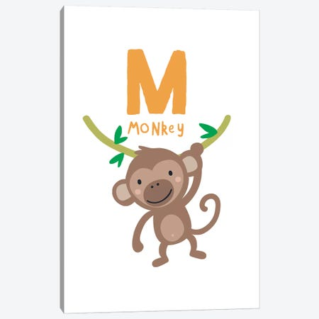 Animal Alphabet - M 3-Piece Canvas #PXY43} by Pixy Paper Canvas Artwork