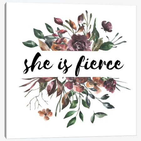 She Is Fierce Autumn Floral Collection Canvas Print #PXY441} by Pixy Paper Canvas Art