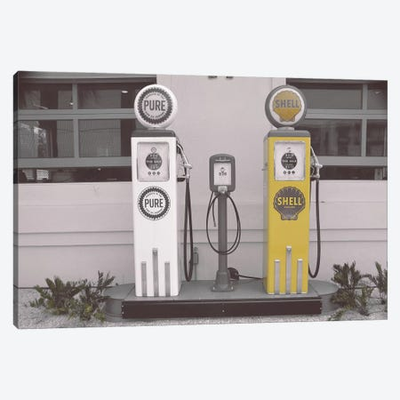 Shell Gass Pump Yellow Canvas Print #PXY444} by Pixy Paper Art Print