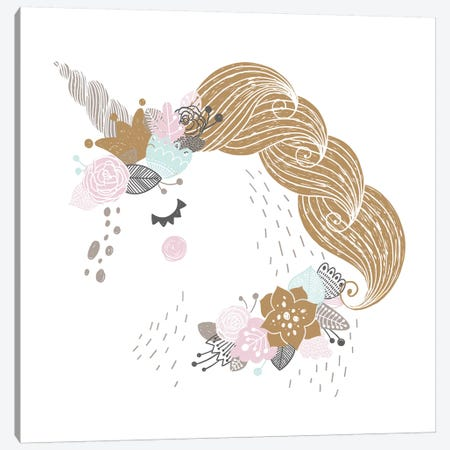 Super Unicorn Designs - Floral Unicorn Canvas Print #PXY457} by Pixy Paper Canvas Wall Art