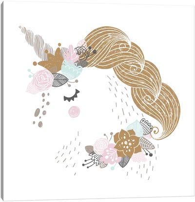 Super Unicorn Designs - Floral Unicorn Canvas Art Print