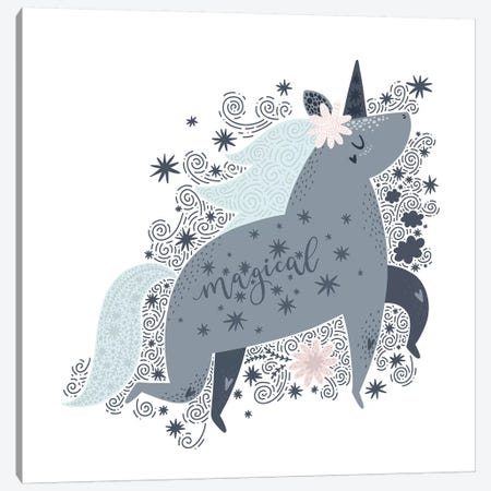 Super Unicorn Designs - Grey Magical Unicorn Canvas Print #PXY459} by Pixy Paper Art Print