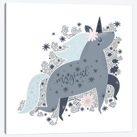 Super Unicorn Designs - Grey Magical Unicorn Canvas Print #PXY459} by Pixy Paper Art Print