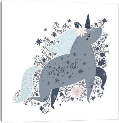 Super Unicorn Designs - Grey Magical Unicorn Canvas Art Print