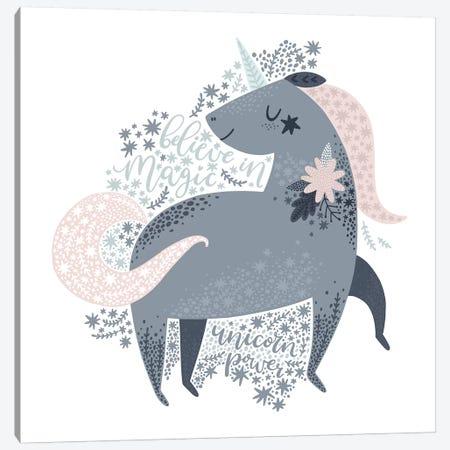 Super Unicorn Designs - Grey Unicorn Canvas Print #PXY460} by Pixy Paper Canvas Artwork
