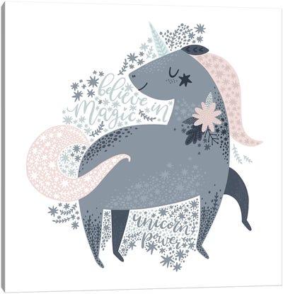 Super Unicorn Designs - Grey Unicorn Canvas Art Print